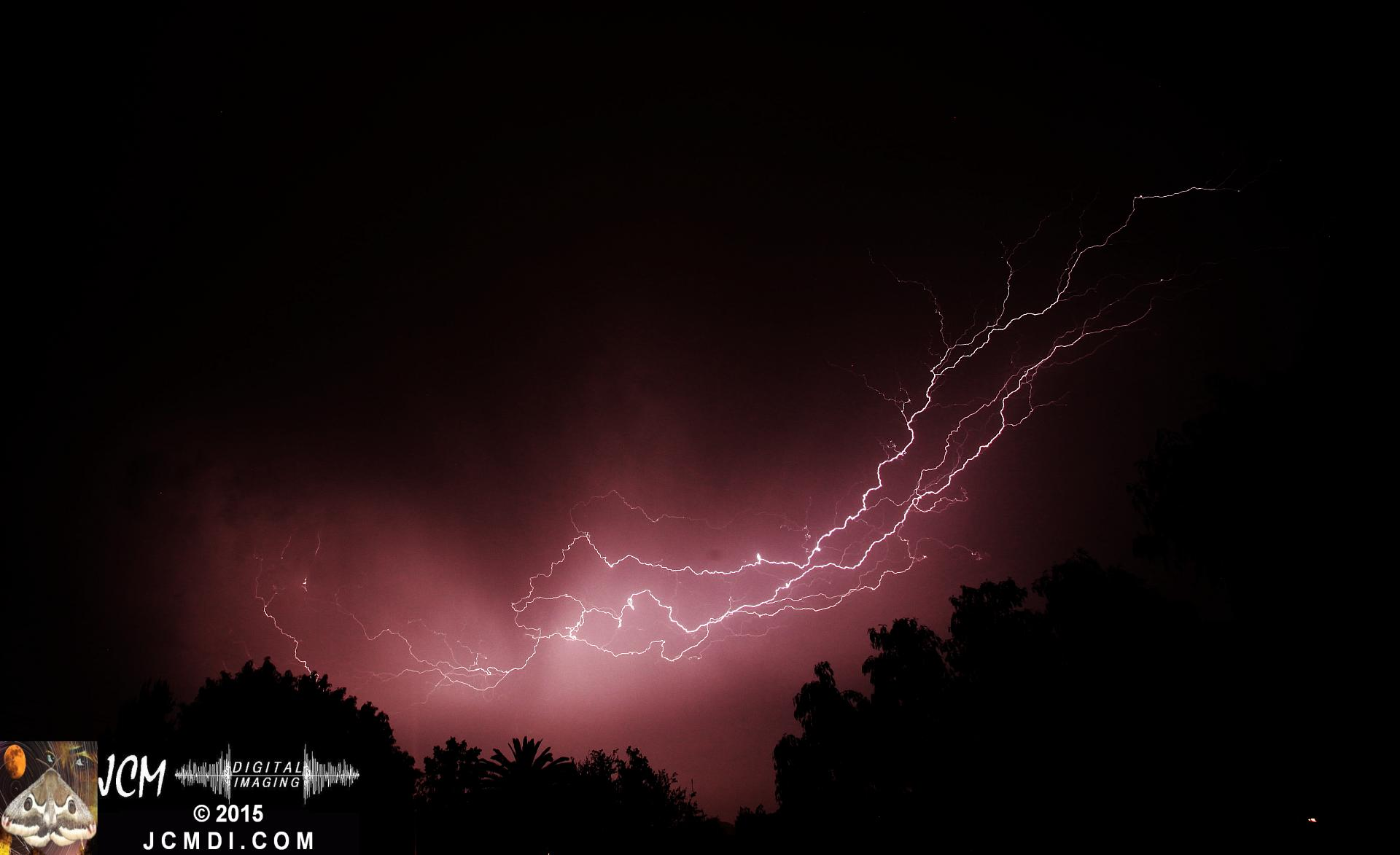 Long exposure lightning image from March 18 2015 Santa Clarita JCMDI.COM