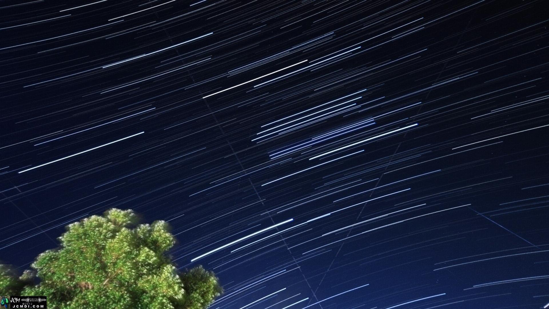 Geminid meteor streaks, 12-13-2012, composite of 750 images taken from 9p to 11p