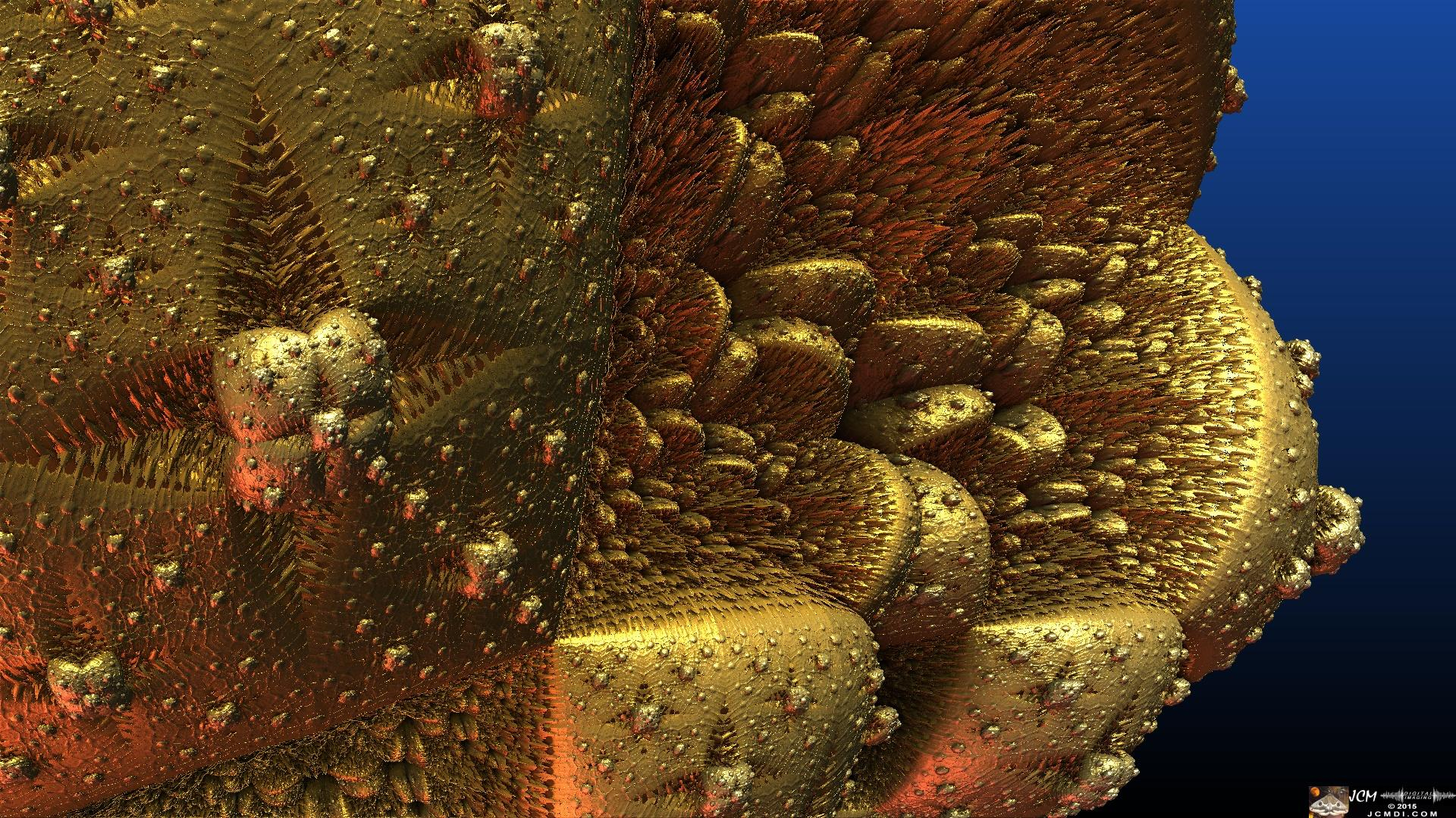 Golden Nugget fractal animation still frame made in Mandelbulb 3D JCMDI.COM